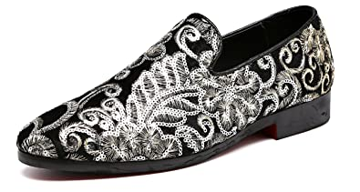 65be267d9f Men's Luxury Penny Loafers Slip-On Designer Moccasins Sparkling Embroidery  Flower Wedding Shoes (6