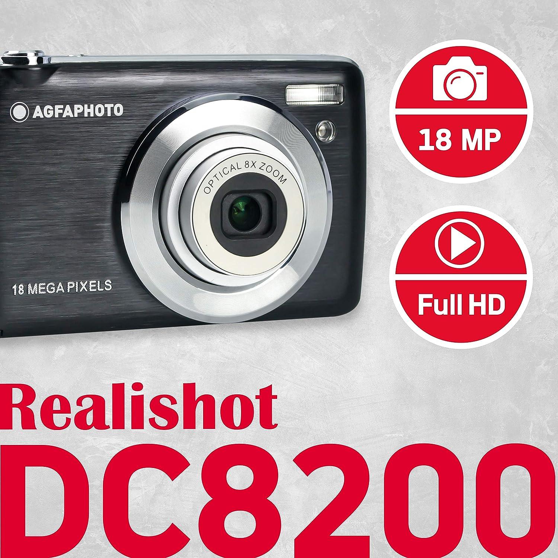 Appareil Photo Num/érique Compact AGFA PHOTO Realishot DC8200 Noir 18 MP, Vid/éo Full HD, Ecran LCD 2.7, Zoom Optique 8X, Batterie Lithium et Carte SD 16GB