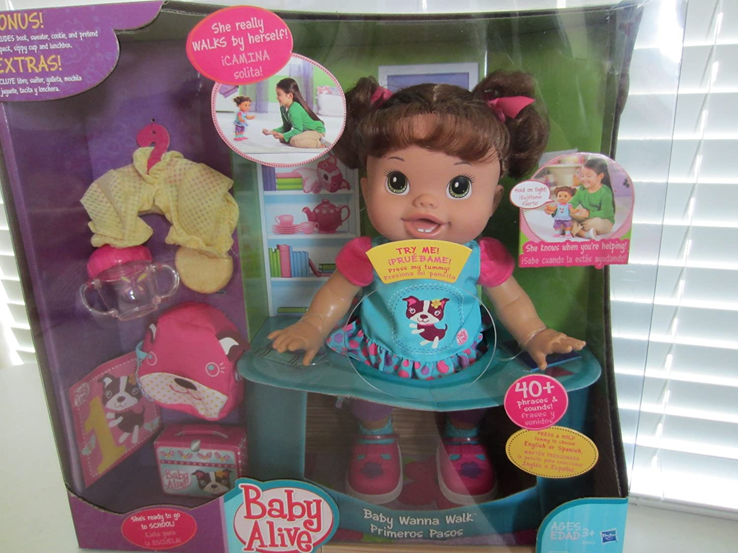 Amazon.com: Baby Alive Baby Wanna Walk, Brunette Doll WITH SPECIAL BONUS PACK: Toys & Games