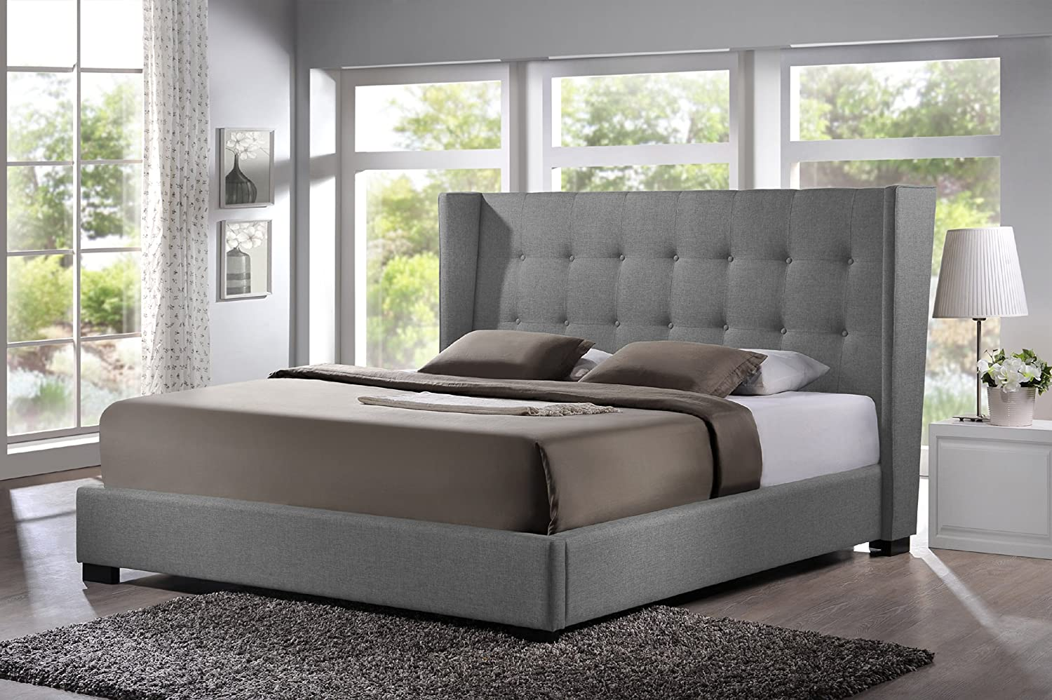 Amazon Com Baxton Studio Favela Linen Modern Bed With Upholstered Headboard King Grey