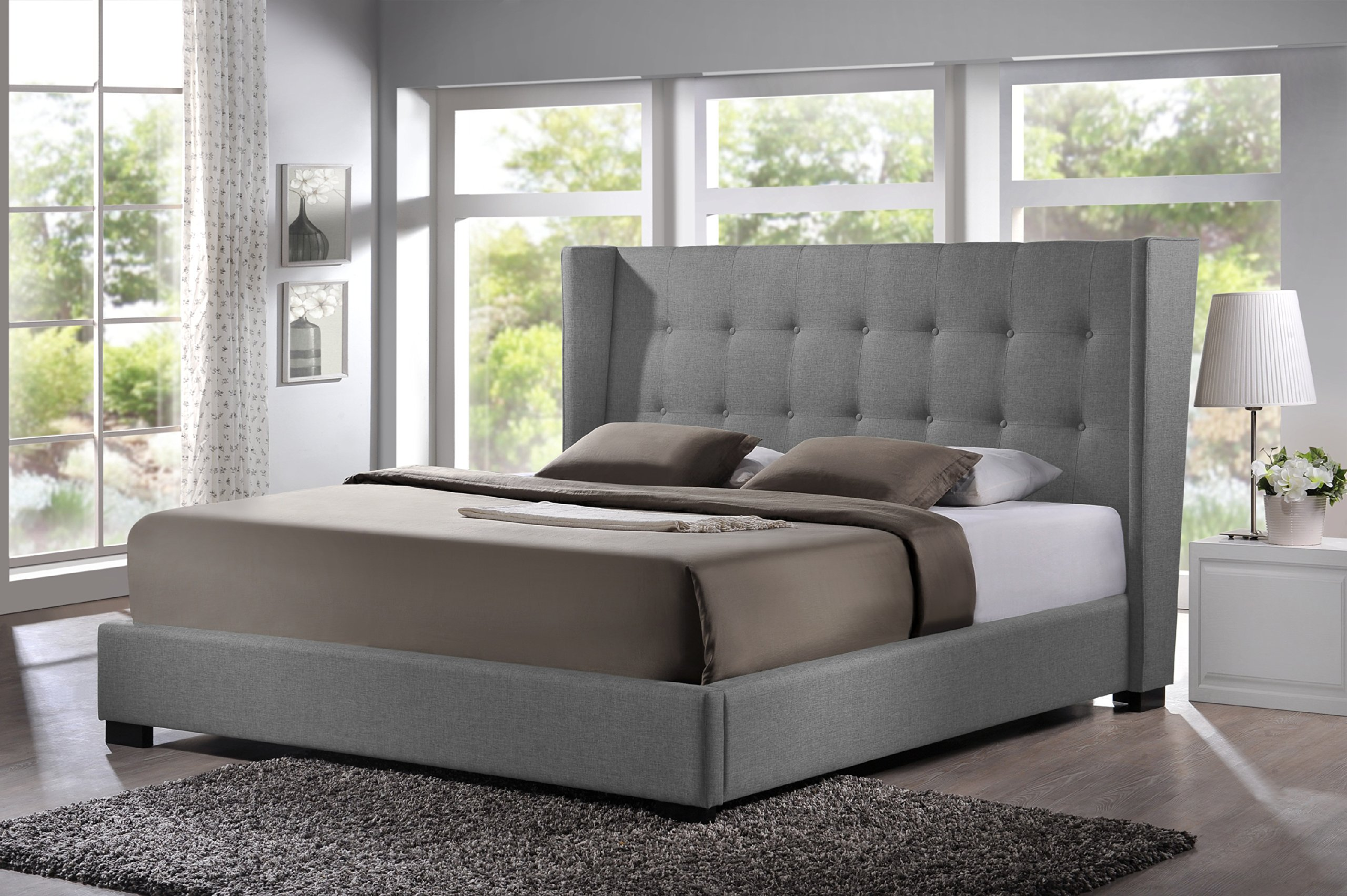 Baxton Studio Favela Linen Modern Bed with Upholstered Headboard, King, Grey by Baxton Studio