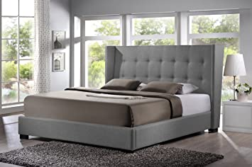 Charming Amazon.com: Baxton Studio Favela Linen Modern Bed With Upholstered Headboard,  King, Grey: Kitchen U0026 Dining