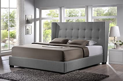 huge discount bfa9c 0a4de Baxton Studio Favela Linen Modern Bed with Upholstered Headboard, King, Grey