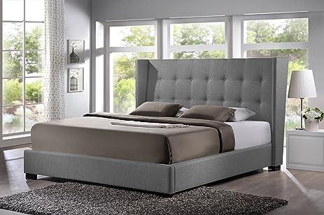 Amazoncom Baxton Studio Favela Linen Modern Bed with Upholstered