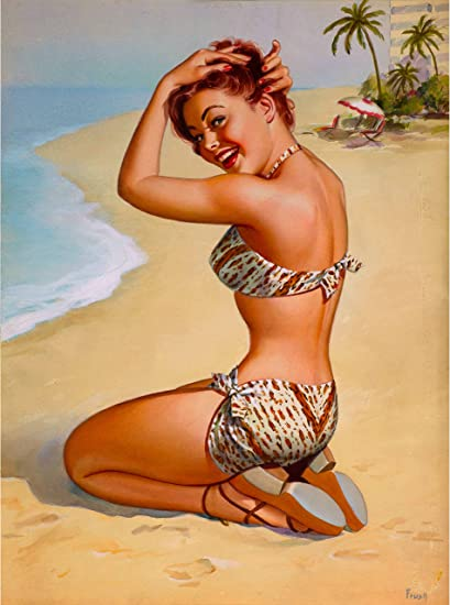 Amazon Com 1940s Pin Up Girl On Nassau The Bahamas Beach Caribbean