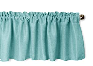 Aiking Home Pure 100% Faux Linen Window Valance - Size 56 inch x 16 inch, Aqua