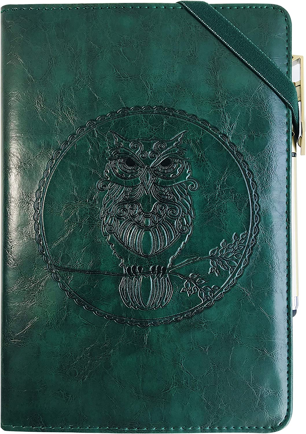 Leather Writing Journal Notebook Gift Set, YANGKUANG Premium PU Leather Embossed Travel Journal Notebook, Mens Journal, Personal Diary, Leather Bound Journal, Refillable, A5 (Green Owl)