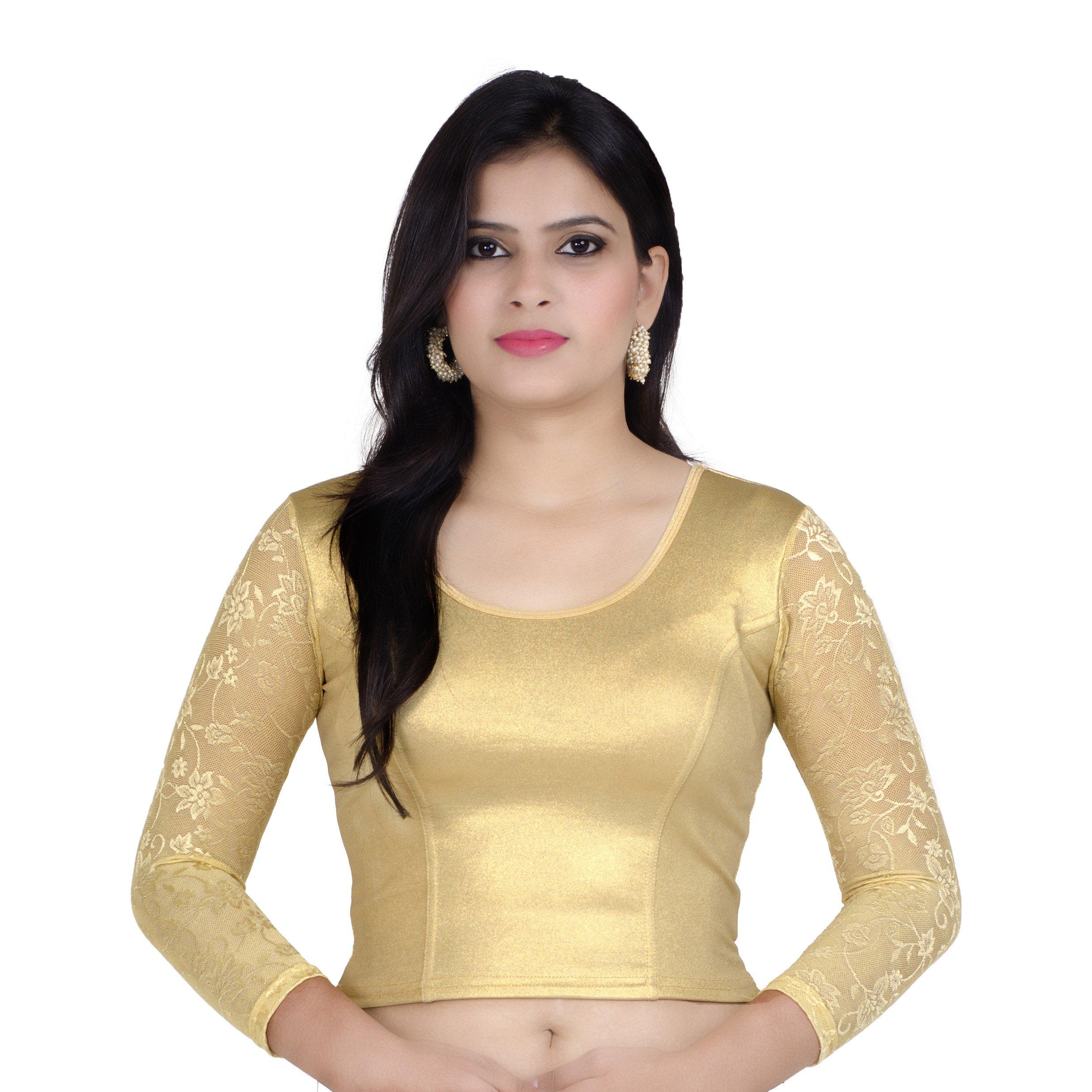 Chandrakala Women's Stretchable Readymade Gold Saree Blouse Crop Top Choli (B101GOL) by Chandrakala