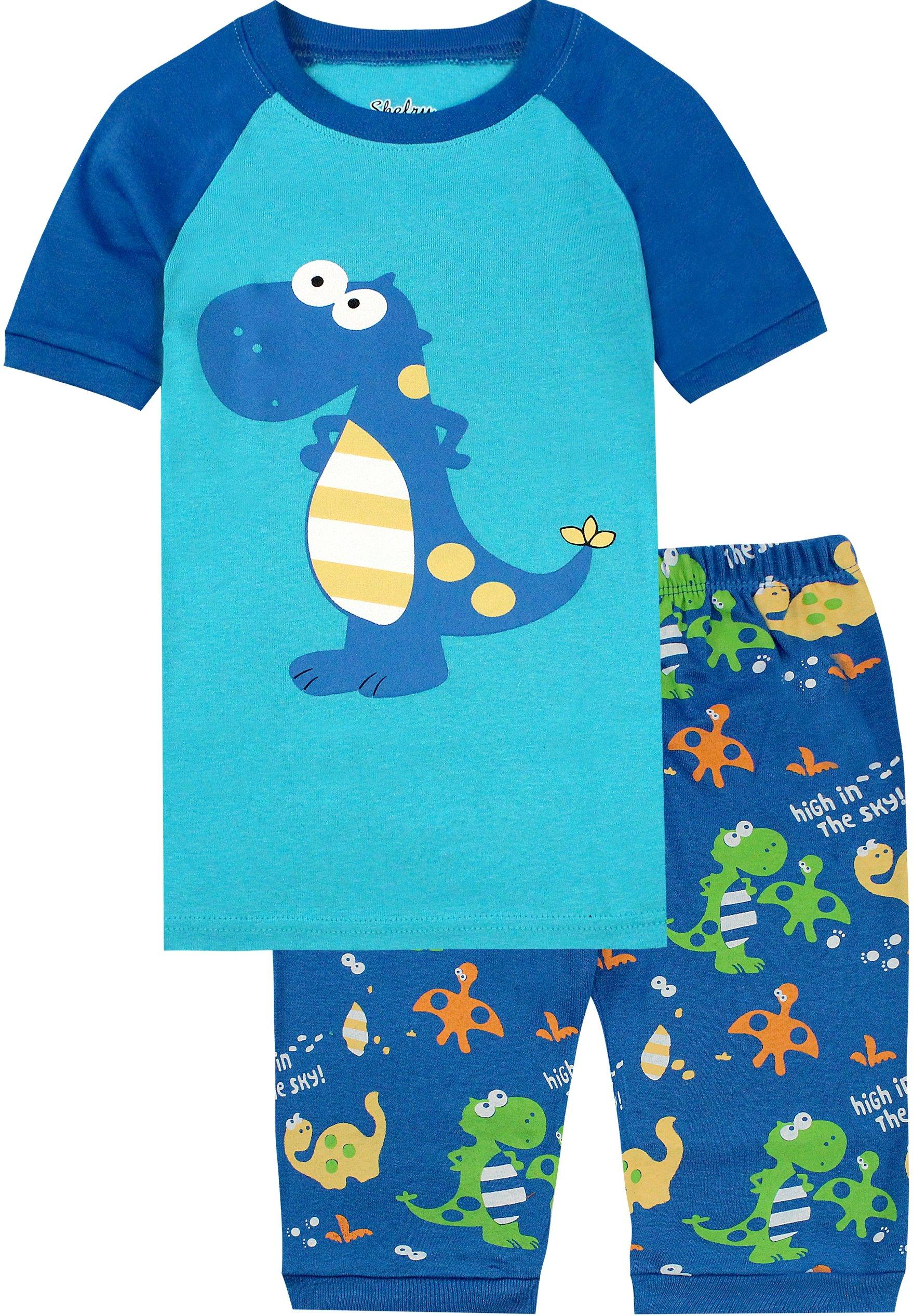 Boys Pajamas Boys Dinosaur Little Kid Shorts Set 100% Cotton Clothes Short Sleeves Sleepwear 8Y