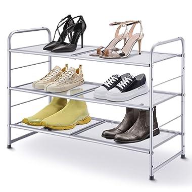 Simple Trending 3-Tier Stackable Shoe Rack, Expandable & Adjustable Shoe Shelf Storage Organizer, Metal Mesh, Silver