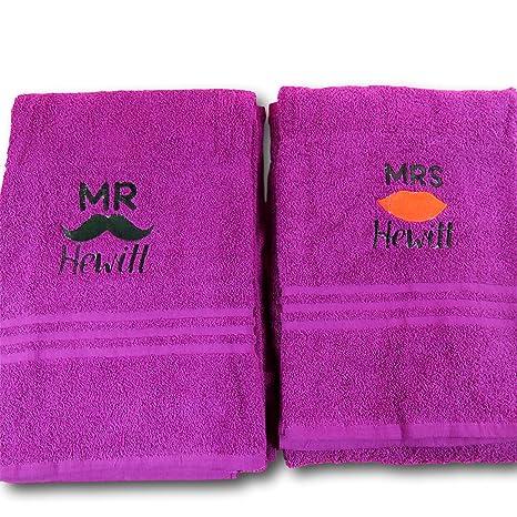 Personalizado de labios y bigote juego de toallas toalla de toallas de Mr & Mrs de