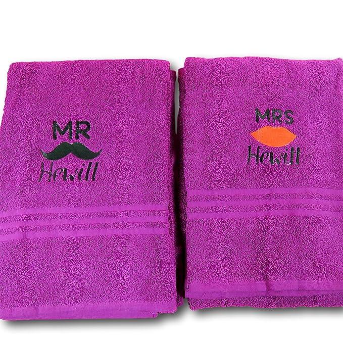 Personalizado de labios y bigote juego de toallas toalla de toallas de Mr & Mrs de las parejas de aniversario regalo de boda regalo bordado toalla regalo ...