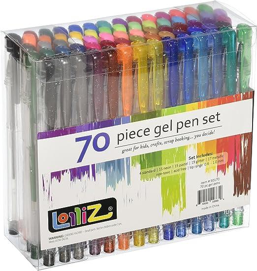 LolliZ Pack de 70 bolígrafos de gel, multicolores: Amazon.es: Hogar
