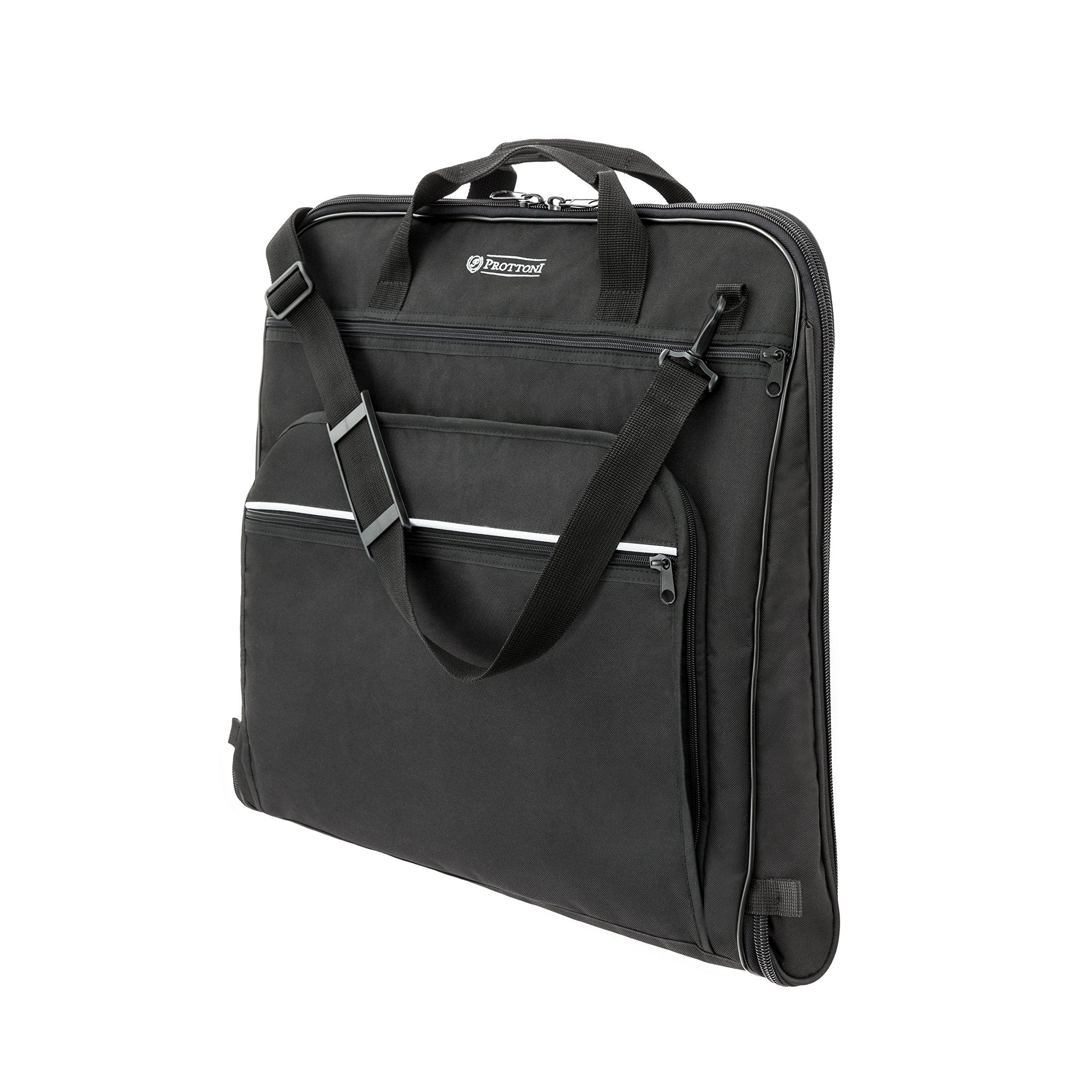 PROTTONI 44'' Garment Bag with Shoulder Strap - Carry On Suit Bag - Built in Hook - Multiple Pockets by Prottoni
