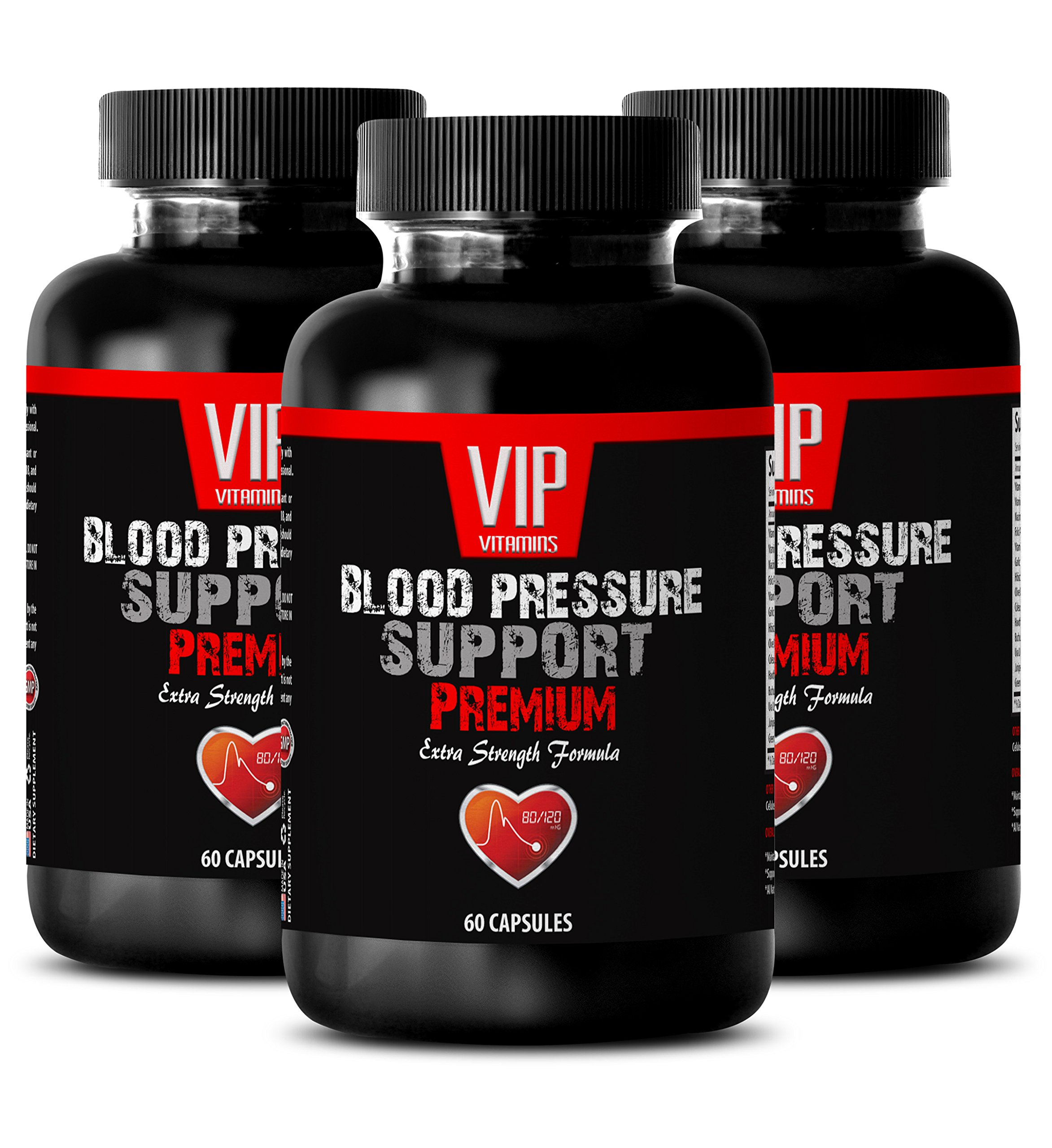 Blood Pressure Herbal Supplement - Blood Pressure Support - Premium Extra Strength Formula - Energy Boost Vitamin Supplement - 3 Bottles (180 Capsules) by VIP VITAMINS (Image #1)