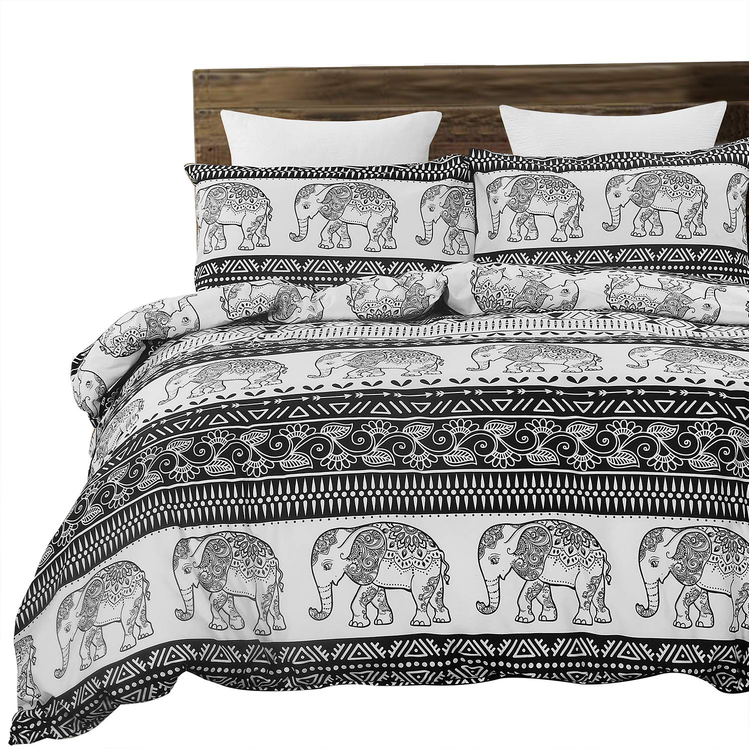 Vaulia Soft Microfiber Duvet Cover Set, Mandala and Bohemia Exotic Patterns Inspired Design - Queen Size