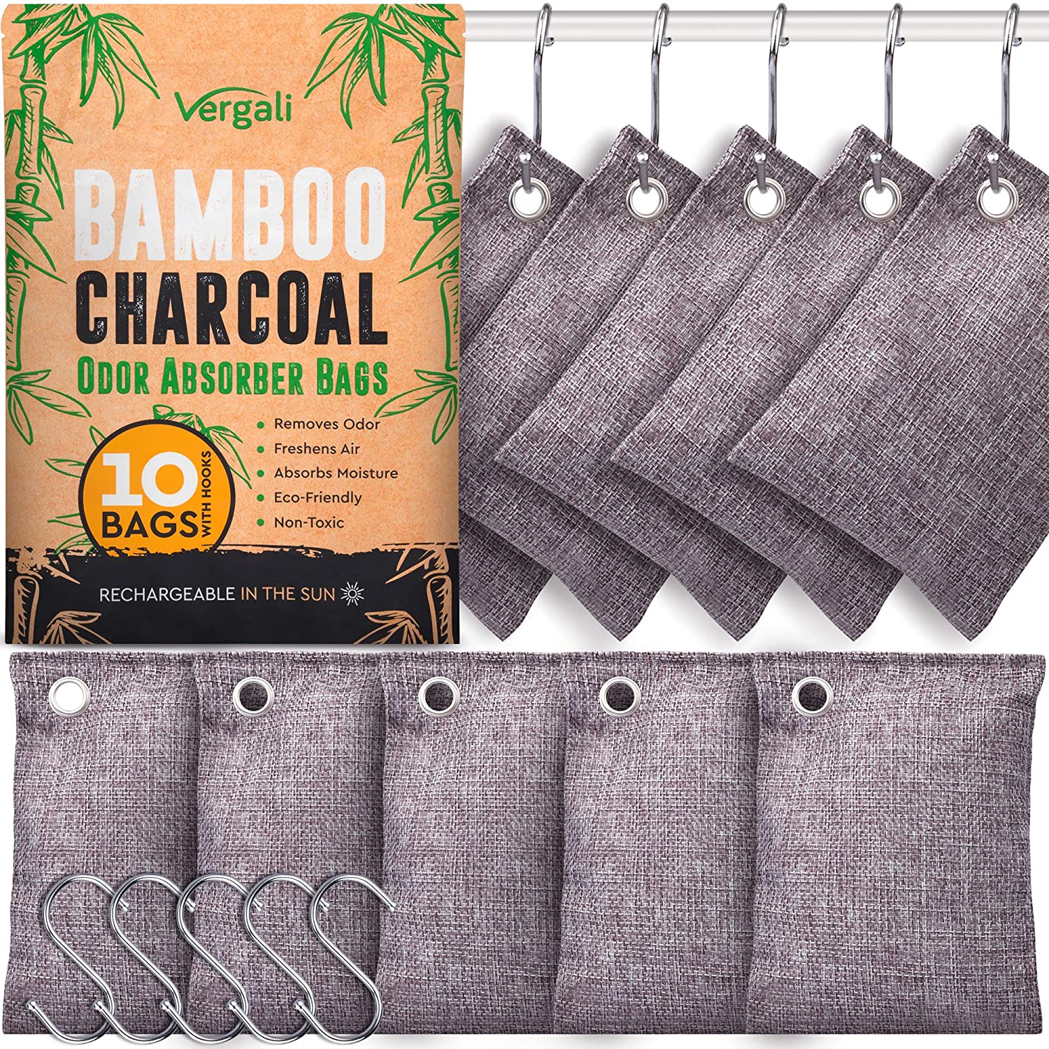 Nature Fresh Bamboo Charcoal Air Purifying Bags 10 x 100g Pack. Activated Natural Home Odor Absorber, Deodorizer and Moisture Eliminator. Purifier Bag for Closet, Shoe, Car, large Room. Pet Safe