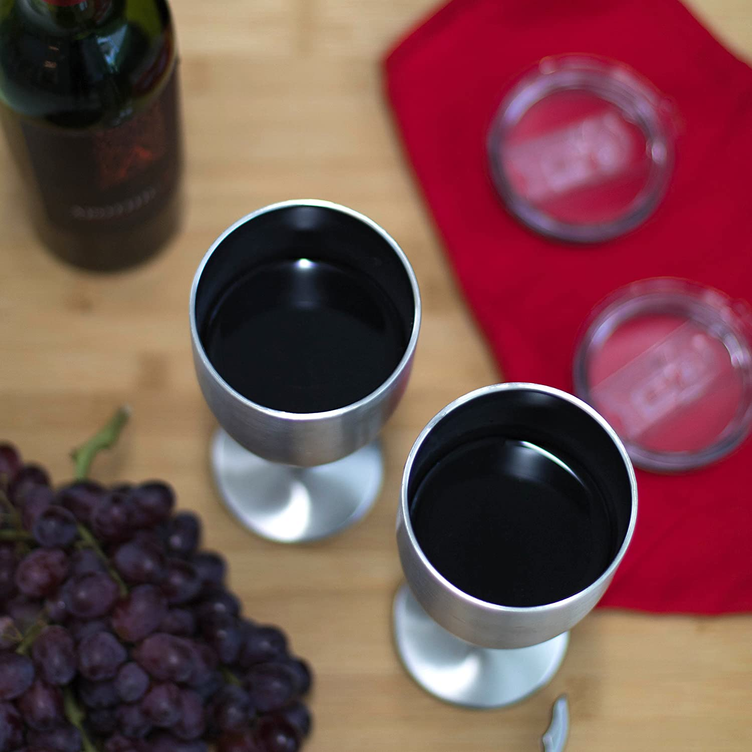 Outdoor BBQ Double Walled w Camping Multifunctional Wine Glasses DIshwasher Safe Easy to Clean Premium Grade Stainless Steel BPA Free Travel Artigee Wine Glass 2-Pack Lid