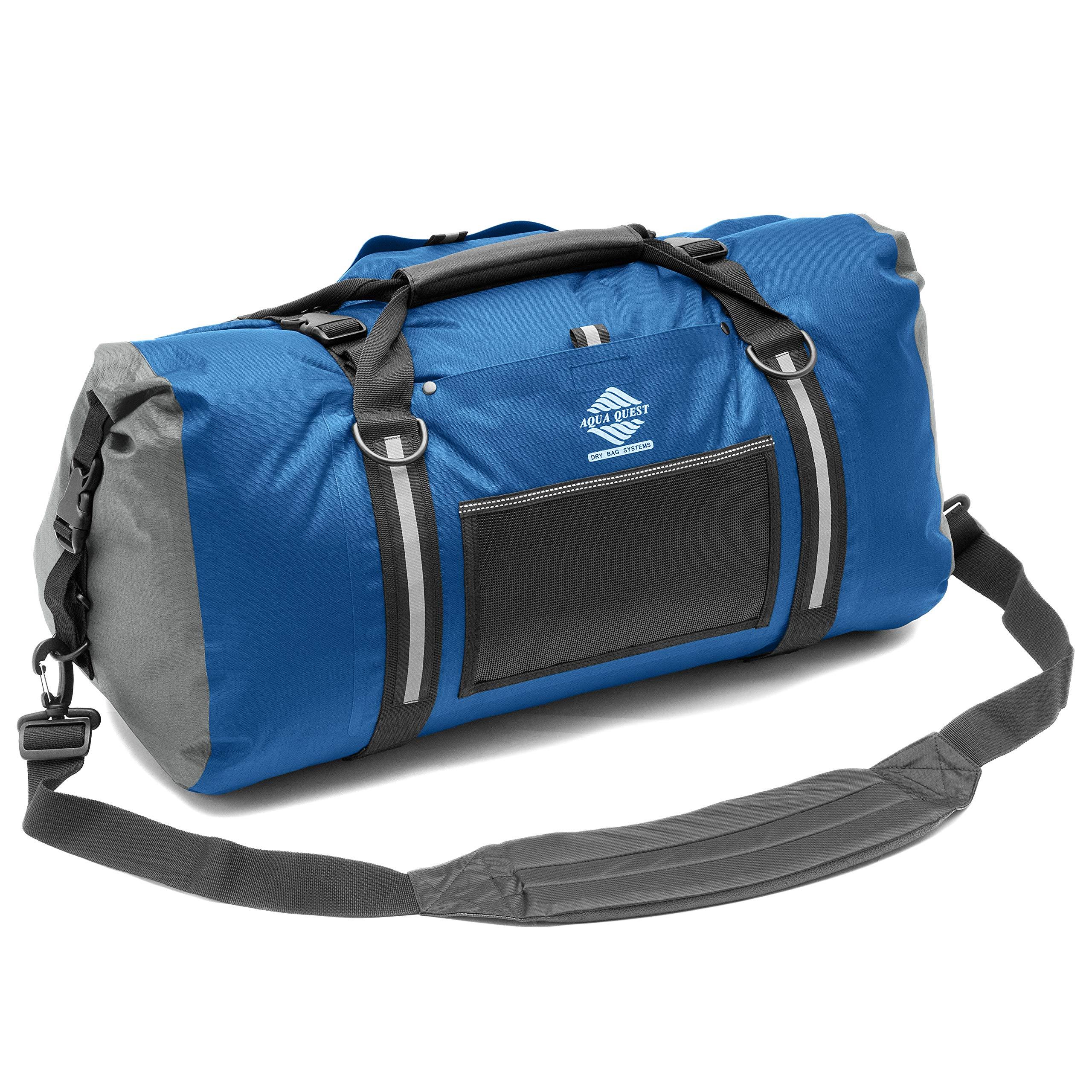 Aqua Quest White Water Duffel - 100% Waterproof 75 L Bag - Lightweight, Durable, External Pockets - Blue