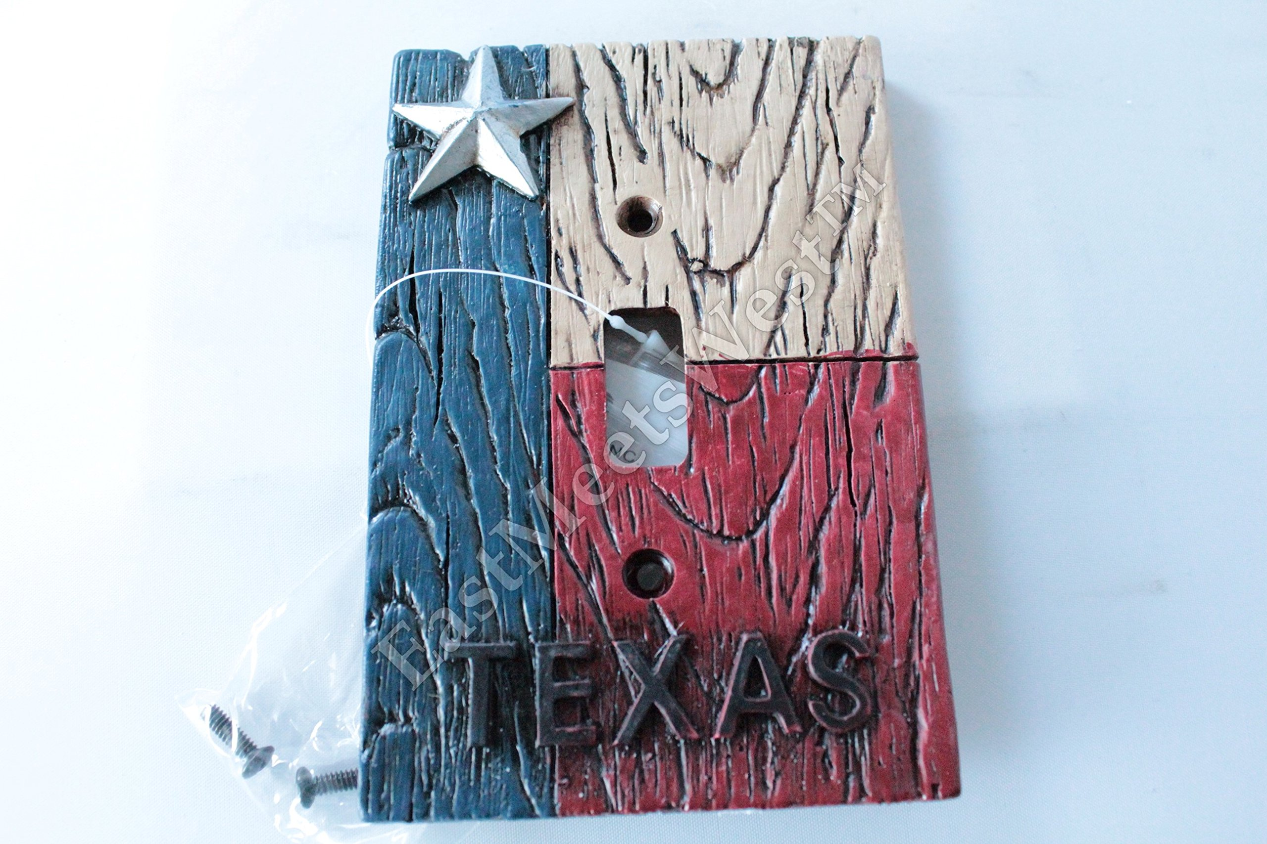 Western Cowboy Texas Flag Star Switch Plate Covers Electric Outlet Rustic Wood Look Decor (Single Switch)