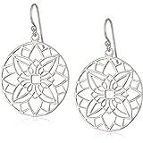 Silver Tone Filigree Open Flower Medallion Drop Earrings