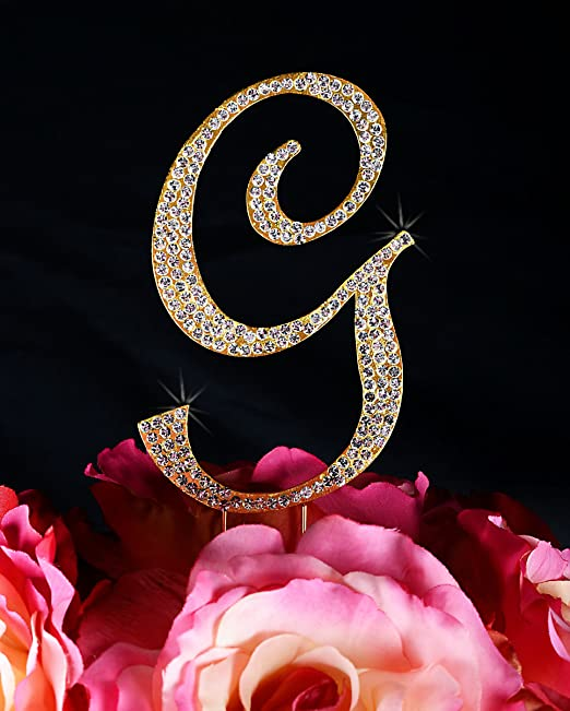 4.75 Tall Gold Victorian Collection Monogram Rhinestone Cake Topper Large Letter G