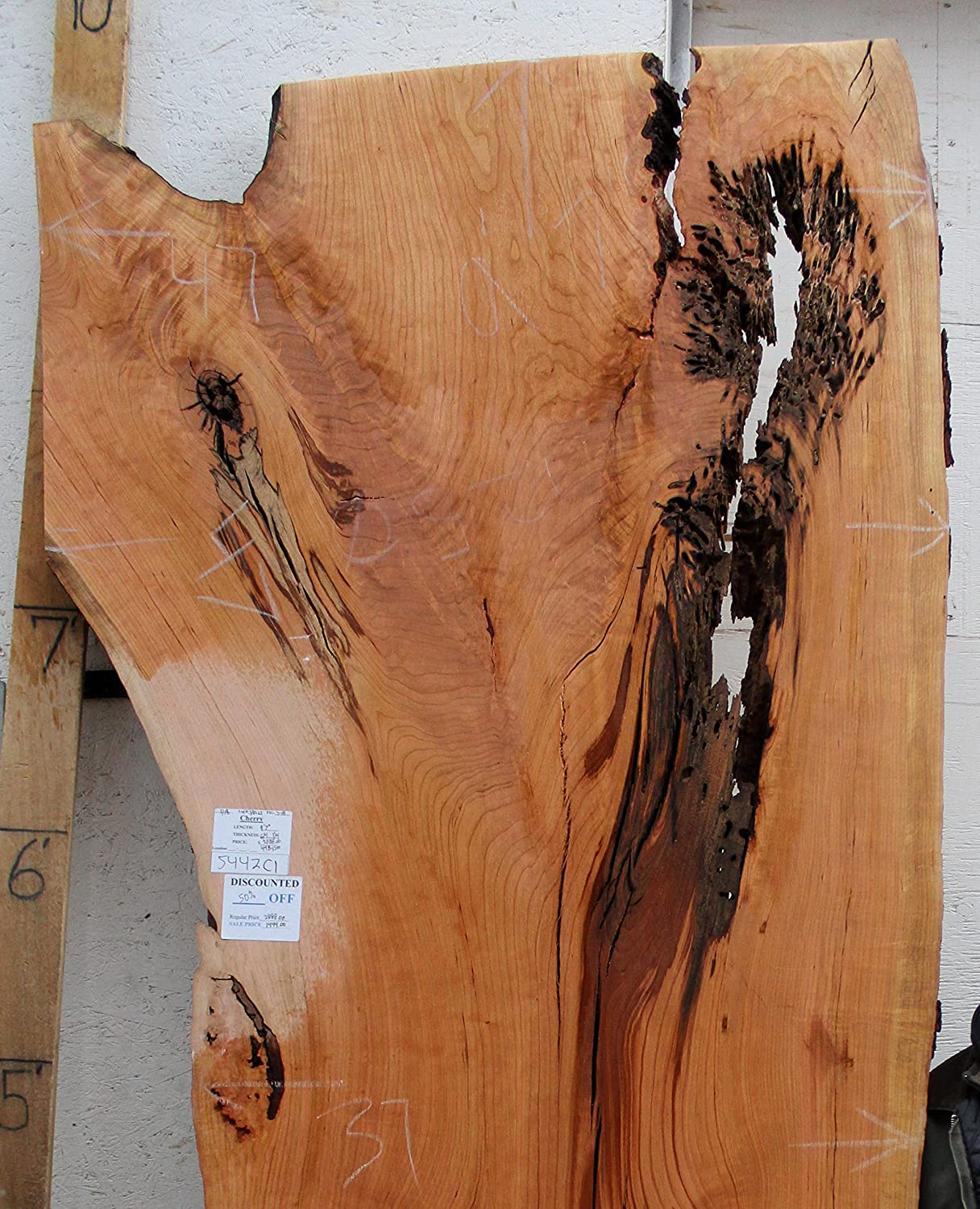 Live Edge Dining Conference Table Natural Cherry Raw Wood Slab Custom  Furniture Unique Rustic Kitchen Island Unfinished Wide Lumber 5442c1:  Amazon.com: ...