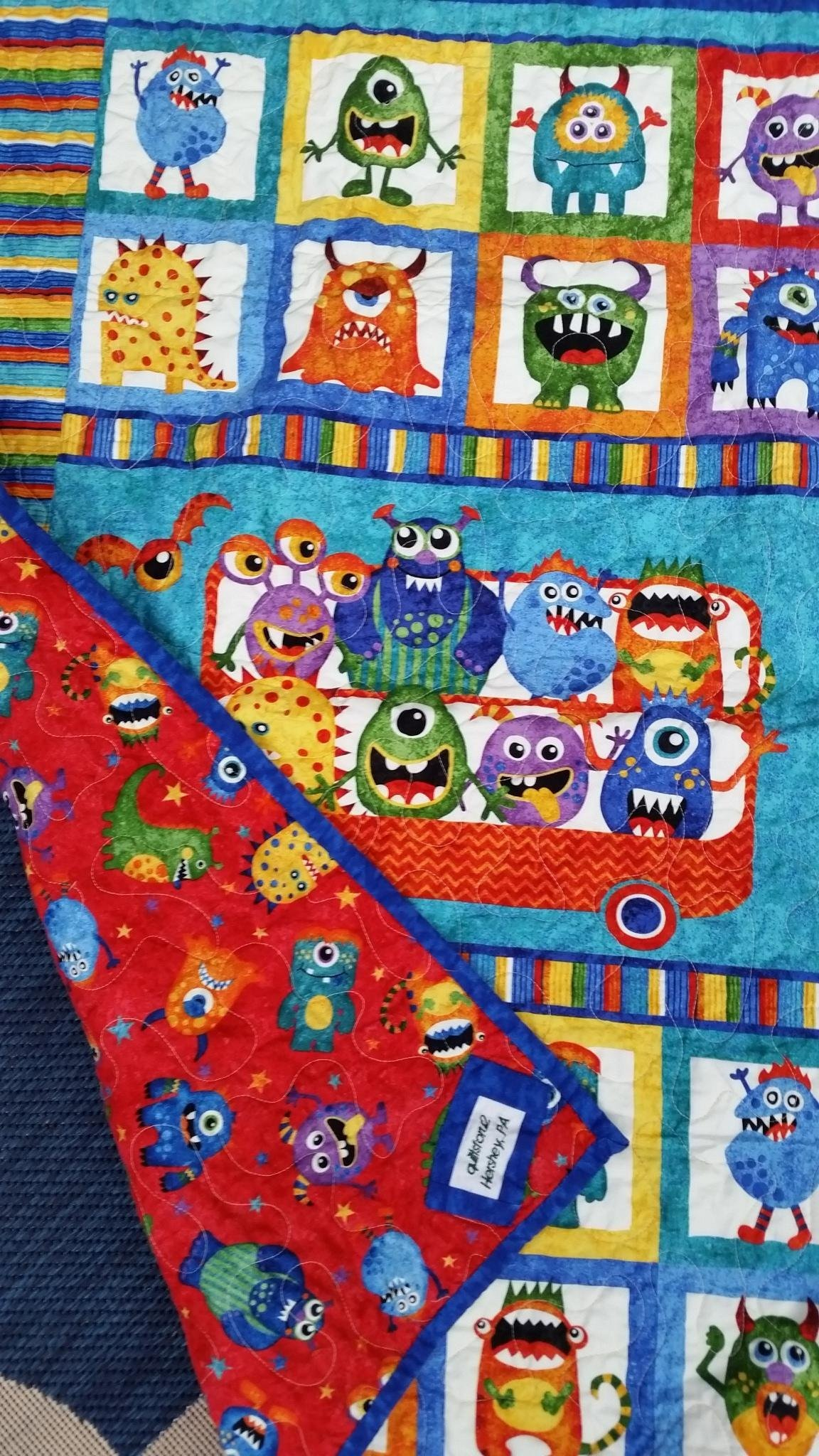 Monster Crib Quilt, Not Scary Monsters, Gender Neutral Crib Quilt, Girl Crib Quilt, Boy Crib Quilt, Primary Colors, Red Blue Green Yellow Orange, Monster Playmat