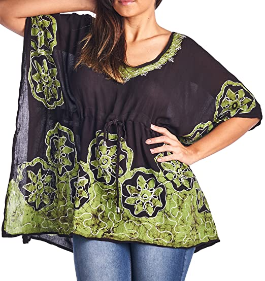 c3fdfb5ba84557 High Style Women s Short Kaftan Tunic Top Blouse with Batik Print (35637