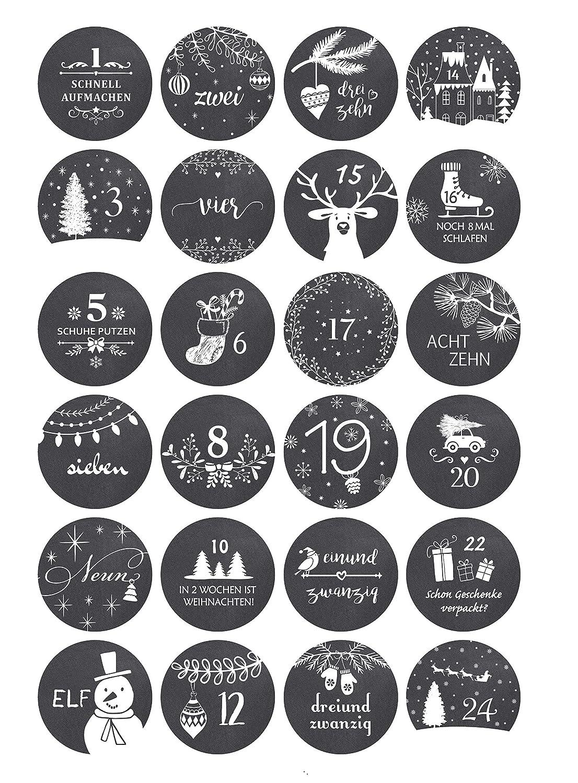 rund // matt// 40mm 24 Adventskalender Zahlen - Vintage TAFEL Winter Aufkleber f/ür Adventskalender Kreatives Herz perfekt geeignet zum Adventskalender basteln und bef/üllen