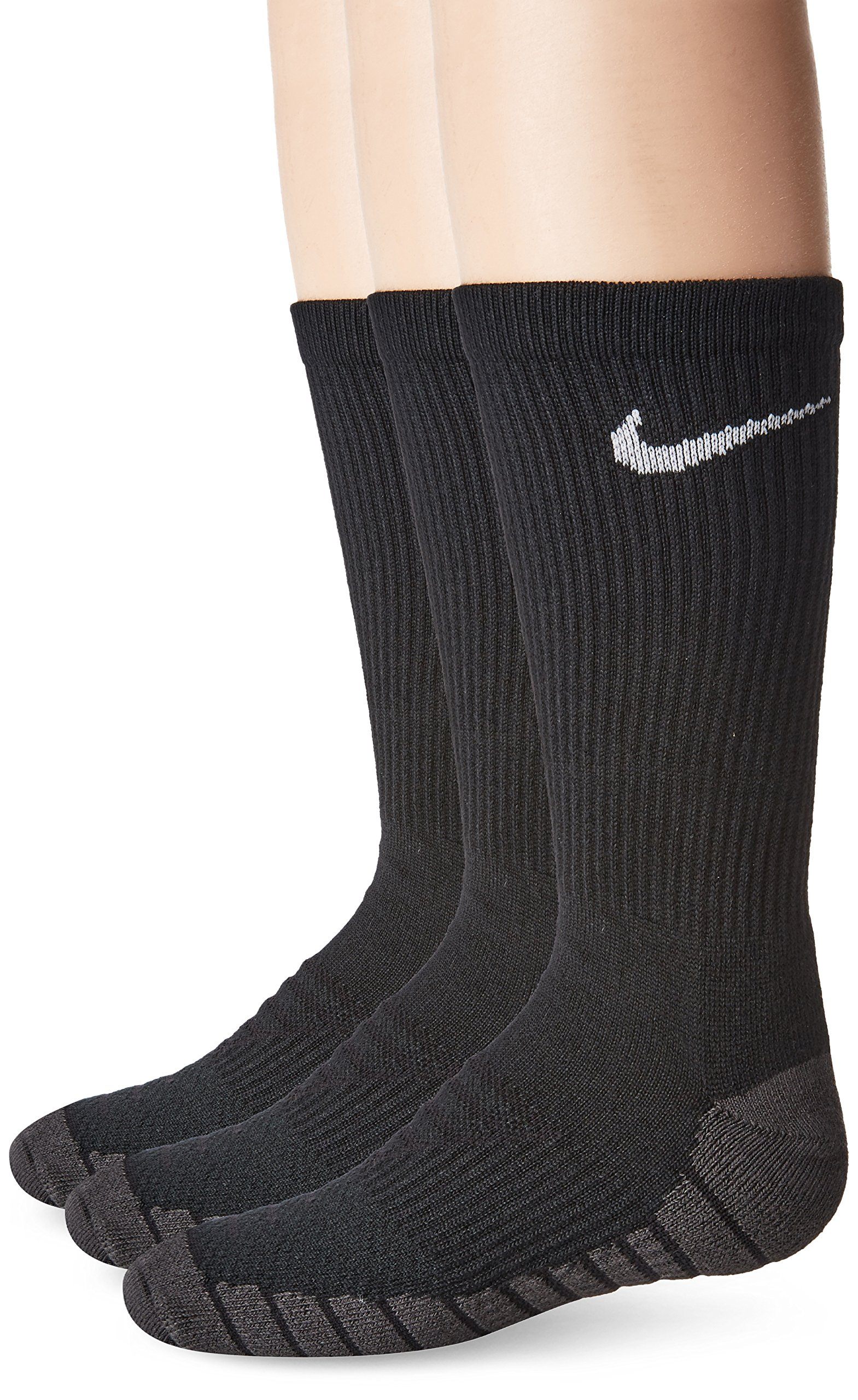 NIKE Kids' Unisex Everyday Max Cushion Crew Socks (3 Pairs), Black/Anthracite/White, Medium