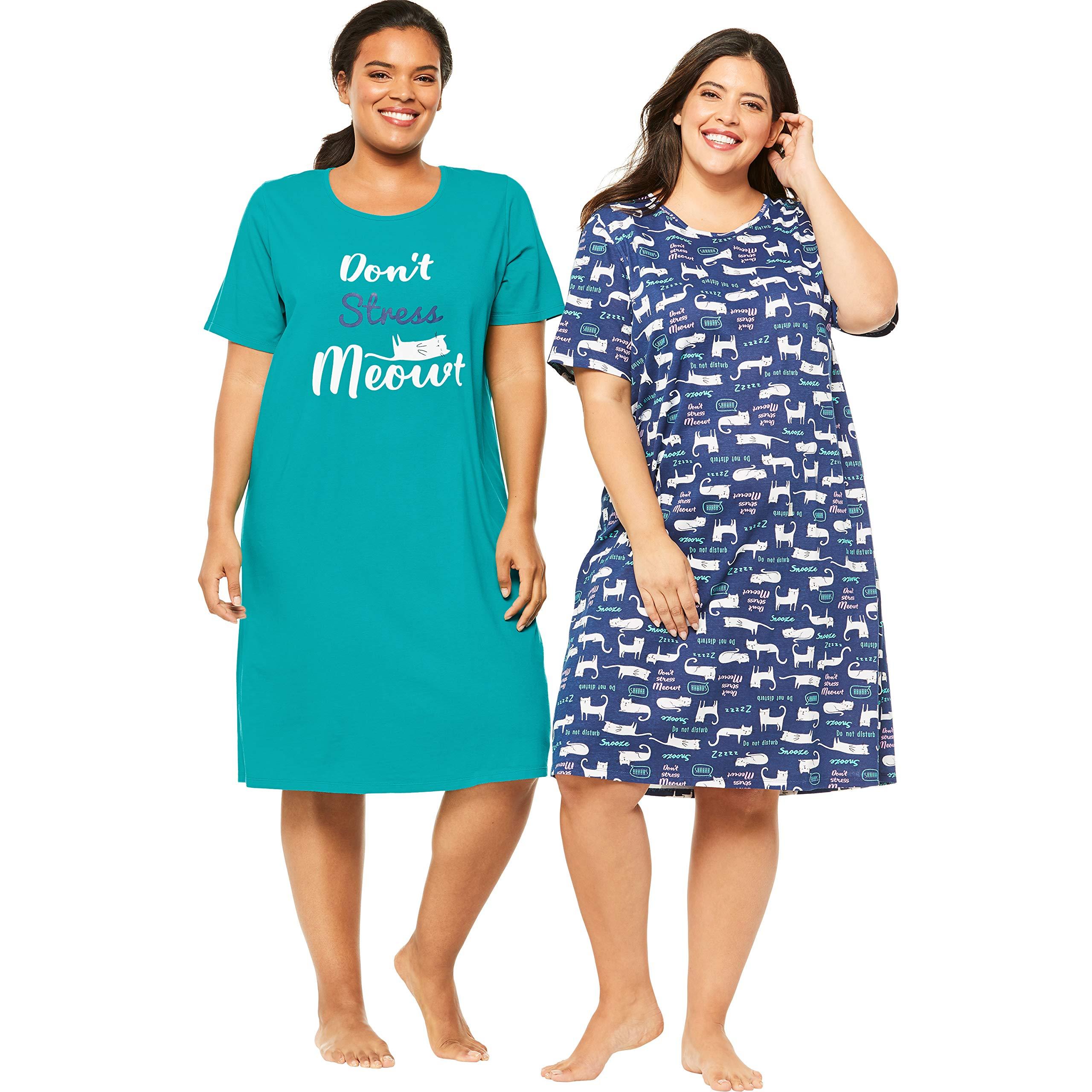 Dreams & Co. Women's Plus Size 2-Pack Short-Sleeve Sleepshirt - Waterfall Meow, 3X/4X by Dreams & Co.