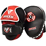 RDX Boxing Pads Focus Mitts | Maya Hide Leather Curved Hook and Jab Target Hand Pads | Great for MMA, Muay Thai, Kickboxing, Martial Arts, Karate Training | Padded Punching, Coaching Strike Shield