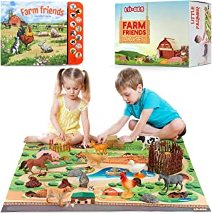 Lil-Gen Farm Animals with Farm Animal Sound Book, 12 Toy Figures with Playmat and Farm Accessories for Toddlers – Farm Playset for Boys and Girls 2 Years Old & Up (22 Piece Set)