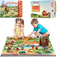 Lil-Gen Farm Animals with Farm Animal Sound Book, 12 Toy Figures with Playmat and Farm Accessories for Toddlers – Farm…