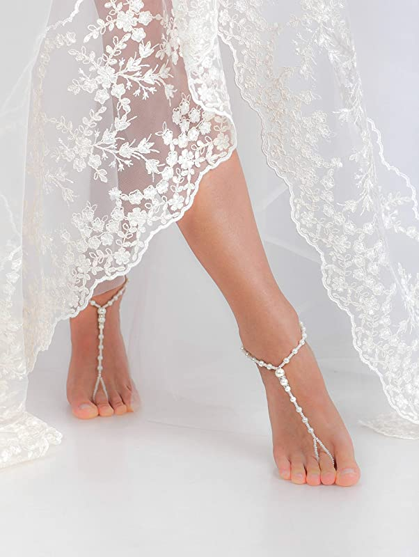 Blue crystals and pearls  barefoot sandals..beach wedding barefoot sandals..carnival accessories..foot jewelry..bridesmaid barefoot sand