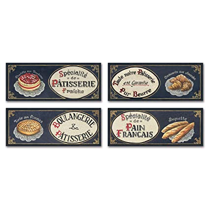 Amazon.com: Gango Home Decor French Boulangerie; Lovely Vintage French  Baguette, Tarte, Croissants And Patisserie; Four 18 X 6 Poster Prints:  Posters U0026 ...