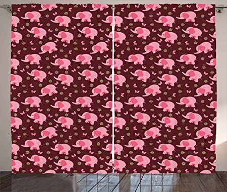 Elephant Nursery Decor Curtains by Ambesonne, Baby Elephants ...