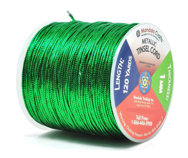 Mandala Crafts 1mm 2mm Non Stretch Gold Silver Jewelry Making Gift Wrap Ribbon Metallic Tinsel Cord Rope , Rainbow 100 Yards 2mm