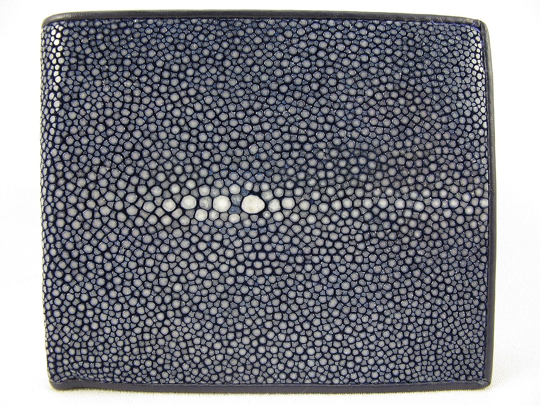 PELGIO Real Genuine Polished Stingray Shagreen Skin Leather Soft Bifold Wallet