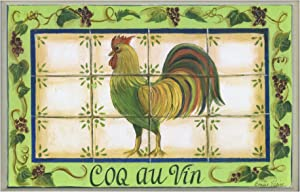 The Stupell Home Decor Collection Green with Tile Coq Au Vin Rectangle Kitchen Wall Plaque