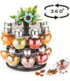ATMAN 360 Degree Revolving Round Shape Transparent Spice Rack, Container (Black)