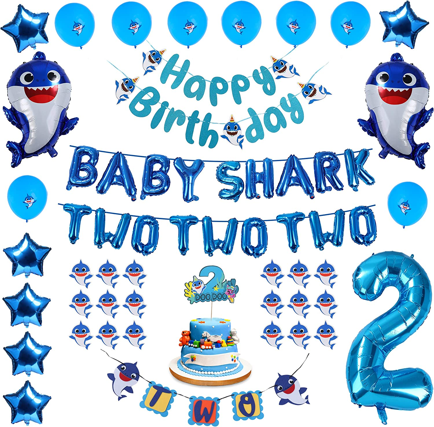 Baby Shark 2nd Birthday Decorations Boy - Blue Baby Shark TWO TWO TWO and Number 2 Foil Balloons 2 DOO DOO Cake Topper Happy Birthday and TWO Banner Cute Shark Latex Balloons Cupcake Toppers