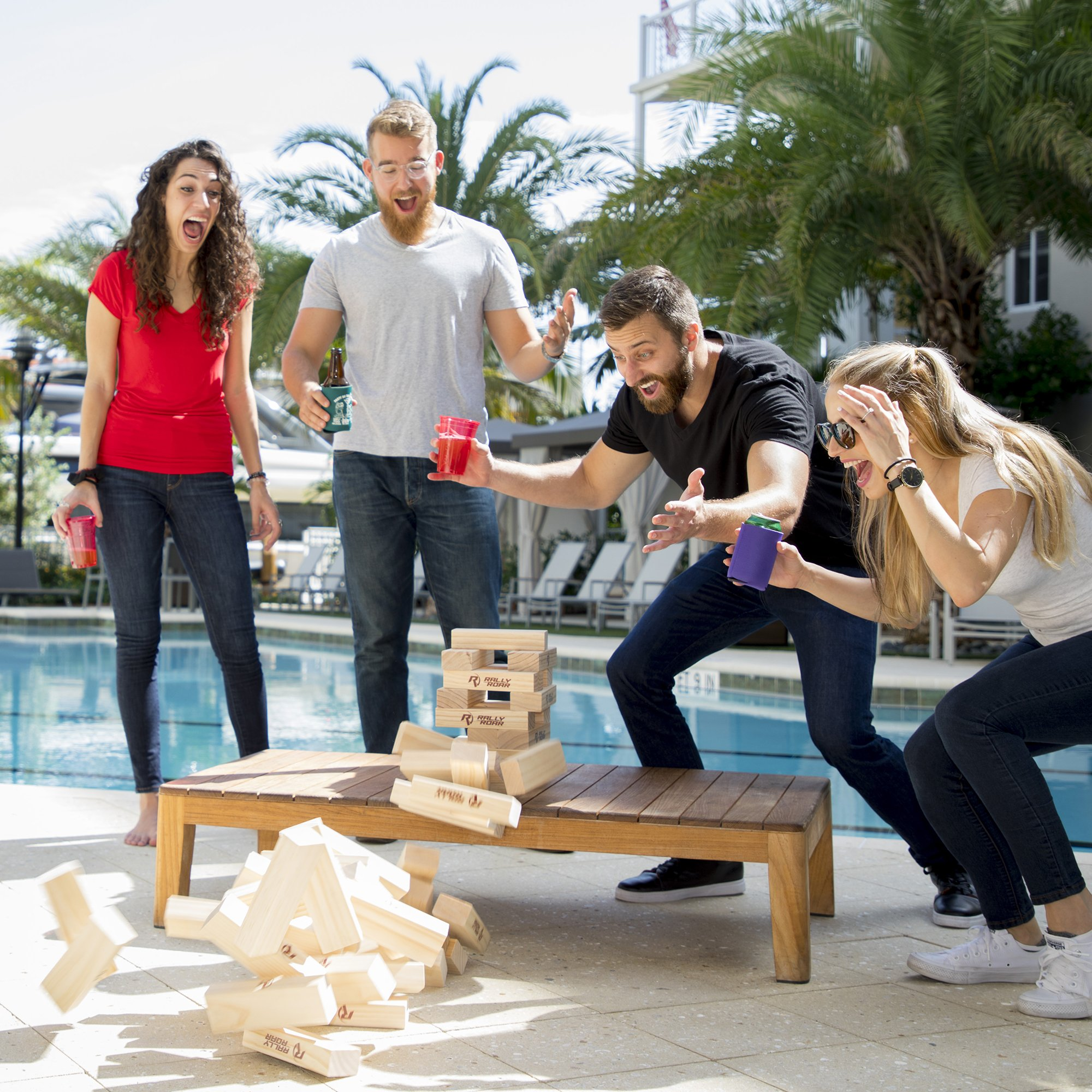 Rally and Roar Toppling Tower Giant Tumbling Timbers Game 2.5 feet Tall (Build to Over 5 feet)– Classic Wood Version - for Adults, Kids, Family – Stacking Blocks Set w/Canvas Bag by Rally and Roar (Image #6)