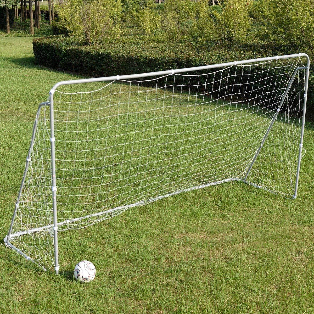 Giantex 12 x 6 Ft Soccer Goal w/ Net, Steel Frame and Velcro Straps, Indoor Outdoor Backyard Kids Children Soccer Goal
