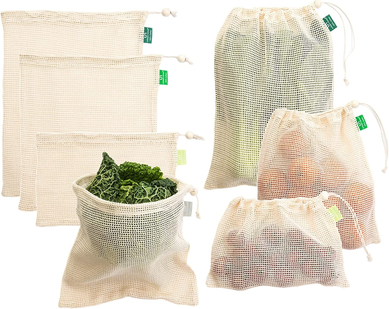 Cotton Produce Bags - Reusable Mesh Produce Bags - 4 Sizes in Set of 7 + 1 Muslin Storage Bag - Strong - Durable - with Drawstring - Tare Weight on Tag - for Grocery Shopping and Storage