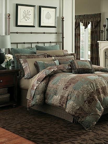 Amazon Com Croscill 2a 200 Galleria California King 4 Piece Comforter Set Brown Home Kitchen