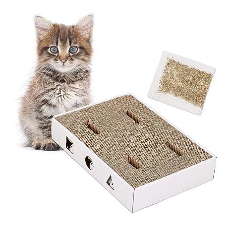 Relaxdays rascador para Gatos de cartón con Pelotas con cascabeles y Hierba gatera, Blanco,