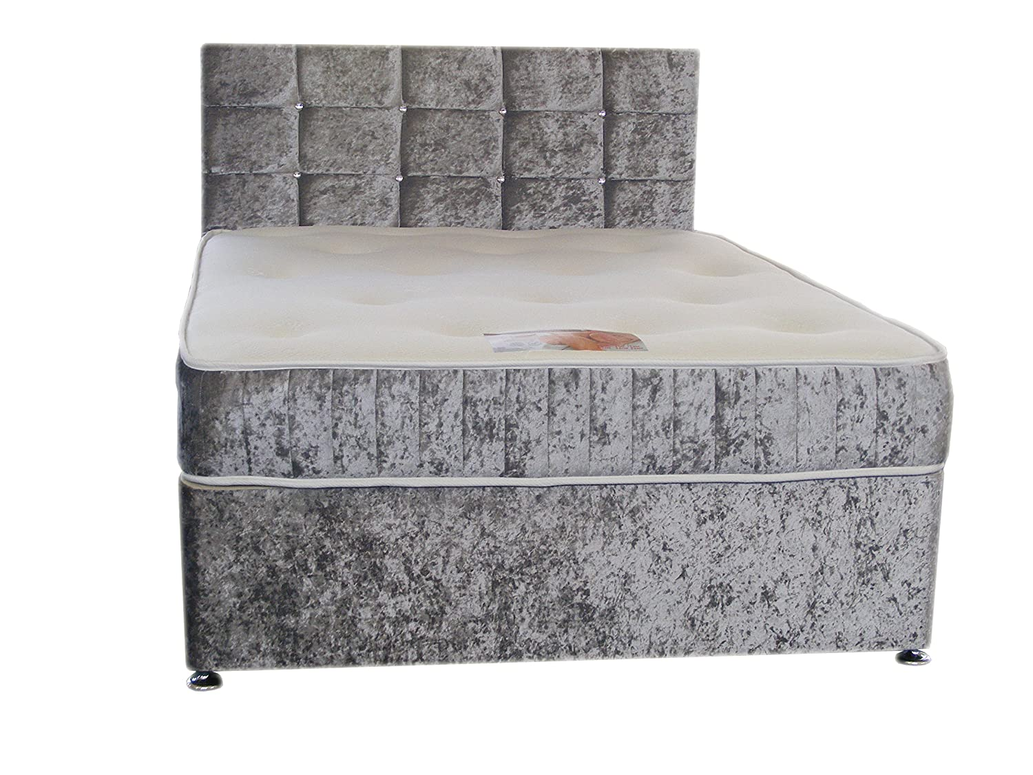 buy popular e029e be2db 4FT6 DOUBLE Silver Crushed Velvet Divan Bed Set Including Luxurious Memory  Foam Mattress And Dimante Headboard (Available in 2'6 Small Single - 3'0 ...