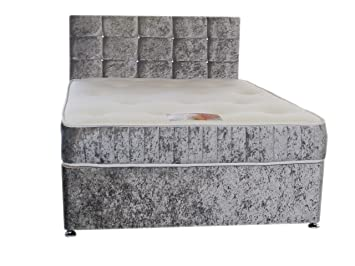 on sale 558d2 03c82 Silver Crushed Velvet Shorty Divan Bed Set Including ...